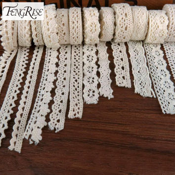 FENGRISE Apparel Sewing Fabric 5 Yards DIY Ivory Cream Black Trim Cotton Crocheted Lace Fabric