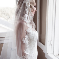 SALE Chantilly Ivory Lace Juliet Bridal Cap Wedding Veil, Thick Scalloped Lace Mantilla, Crystal, Gold, QUICK SHIPPER Style: Ava #1301