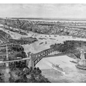 East River and Hell Gate Bridge 20x30 poster