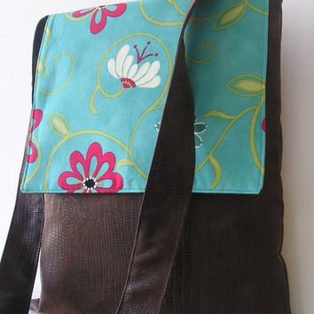 Messenger Bag in Teal and Faux Leather by jazzygeminis on Etsy