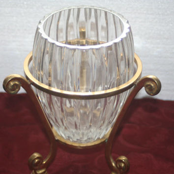 Large Crystal Vase with Brass Stand,Vintage Home Decor