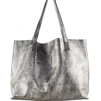 Reversible Gold- Silver Metallic Leather Tote