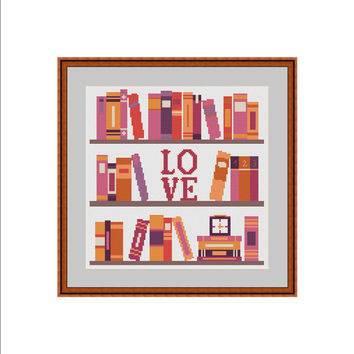 Books cross-stitch pattern, Books cross stitch pattern, Books cross stitch chart, Books cross stitch design, Books cross stitch project, PDF