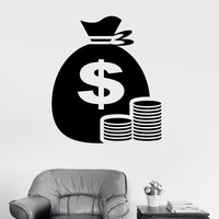 Vinyl Wall Decal Coins Money Bag Dollar Stickers Mural Unique Gift (ig3932)