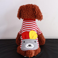 Red and White Striped Bear Pet T Shirt - Dog Puppy Fashion Clothes