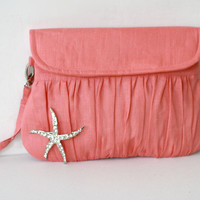 Coral Clutch with Starfish Brooch - Linen Clutch - Beach wedding theme