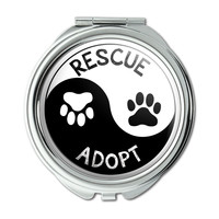 Rescue Adopt Yin Yang Paw Prints Dogs Cats Compact Purse Mirror