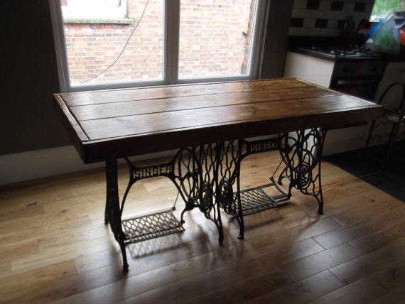 rustic dining table with vintage singer from rusticcreati on etsy
