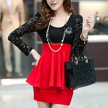Women's Patchwork Red / Black Dress