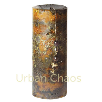 Rustic Pillar Candle 3x6 - Marbled Round Pillar Handpoured Unique Candle Distressed Rustic Decor, Scented Candles - Scented or Unscented