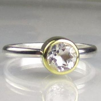 Herkimer Diamond Engagement Ring18k Gold and by JanishJewels