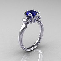 Modern Antique 14K White Gold 1.5 Carat Blue by artmasters on Etsy
