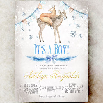 Winter baby boy shower invitation printable - boy baby shower invitation, blue baby shower invitation, deer baby shower invitation