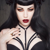hot sexy Girl Gothic bra black elastic harness lingerie f0001 (Color: Black) = 1932011780