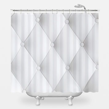 Faux Tufted Shower Curtain