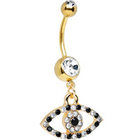 Clear Black Gem Gold Plated Dazzling Eye Dangle Belly Ring | Body Candy Body Jewelry
