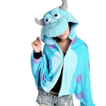 Cool Anime Sulley Sully Monsters University Hooded Wrap Women Men Cosplay Cloak Coral Fleece Shawl Cape Blanket Mantissa CostumesAT_93_12