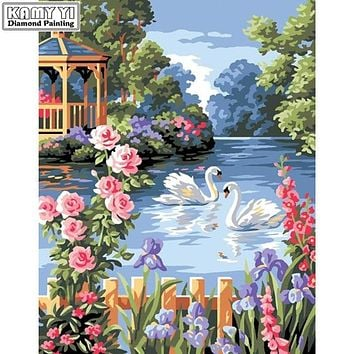 5D Diamond Painting Two Swans by the Flower Garden Fence Kit