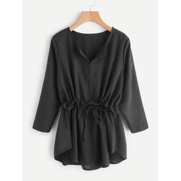 Drawstring Waist Frill Blouse Black