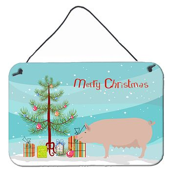 English Large White Pig Christmas Wall or Door Hanging Prints BB9305DS812