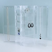 Foldable Jewelry Screen - holds up to 120 pairs of earrings, with 8 necklace hooks