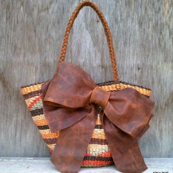 Boho Woven Jute Bucket Tote with Distressed Leather Bow by Stacy Leigh READY TO SHIP