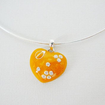Sterling Silver Necklace, Orange Heart Pendant, Enamel, Cubic Zirconia