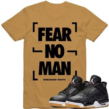 FEAR NO MAN Sneaker Tees Shirt - Jordan Retro 4 Black Laser Gum