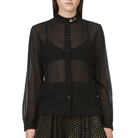 Versus Black Sheer Silk Pinned Blouse