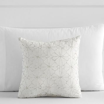 Beaded Floral Decorative Pillow