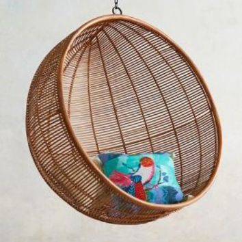 Rattan Hanging Chair by Anthropologie in Neutral Size: One Size Furniture