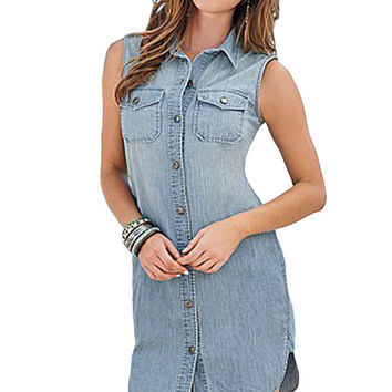 s Front Bottom Blue Sleeveless Long Denim Shirt Dress Casual Mini Dress Denim Dress Ladies  Jeans SM6