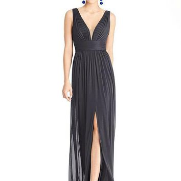 Alfred Sung by Dessy D745 Floor Length Chiffon Knit Bridesmaid Dress