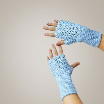 Blue Crochet Fingerless gloves- mittens with superwash wool yarn