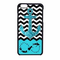 Peter Pan Mint Glitter Anchor Black Chevron iPhone 6 Case