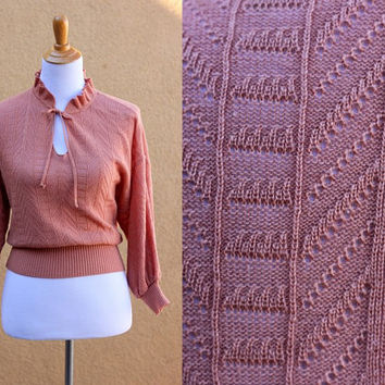 Vtg dainty cropped keyhole knit sweater lightweight pink sheer batwing acrylic 3/4 sleeves wide waistband