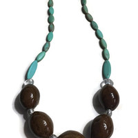 Honey Bead Necklace - Brown Necklace - Turquoise Beaded Necklace - Green Necklace - Blue Necklace - Turquoise Beads - Blue Beaded Necklace