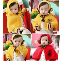 Baby Girls Boys Weave Knitting Hat Cap Cape Coat Scarf