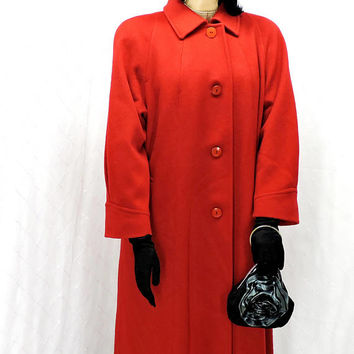 Red wool full length coat / plus size / 1X / 2X / vintage 70s long red wool coat / 1970s red winter coat / SunnyBohoVintage