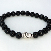 Black stone beaded Buddha stretchy bracelet