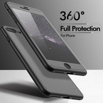 Luxury Case For iPhone 7 Cases For iPhone 7 Plus 360 Degree Cover Mobile Phone Accessories +Nano Film Screen Protector