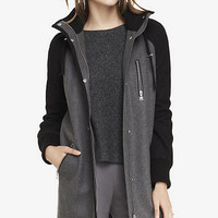 WOOL BLEND HOODED STADIUM COAT from EXPRESS