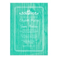 Turquoise Vintage Barn Wood Wedding Invitations
