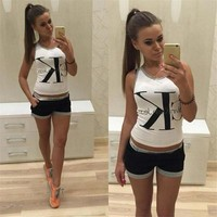 Shorts Hot Sale Stylish Alphabet Women's Fashion Set [11033183239]