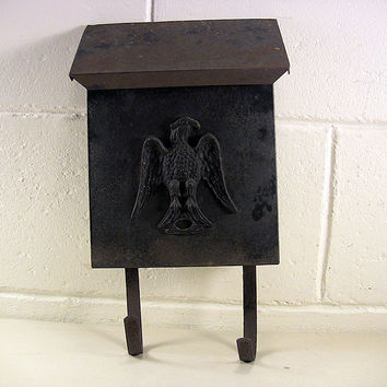 SOLD!  Vintage Metal Wall Mailbox Cast Eagle Newspaper Holder