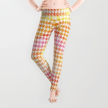 Houndstooth orange watercolor Leggings by CAPow!