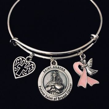 Patron Saint Agatha Breast Cancer Survivor Jewelry Charm Bracelet Adjustable Expandable Silver Bangle One Size Fits All Gift St Agatha Breast Cancer Awareness Guardian Angel Cross