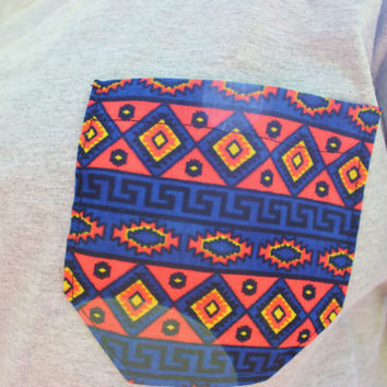 Purple and Pink Aztec Tribal Patterned Pocket Tee