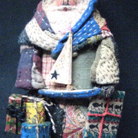 "Primitive Santa ""CAPE COD"" Folk Art Santa-OOAK Original Design from Antique Quilt & Coverlet w/Handmade Sail Boat, Pantry Boxes and Gifts"