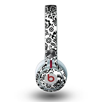 The Black Floral Delicate Pattern Skin for the Beats by Dre Mixr Headphones